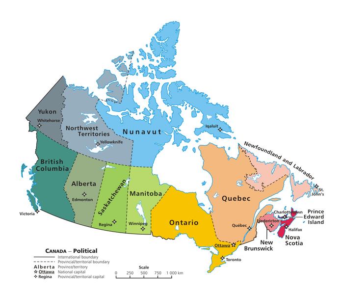 Carte Canada Region.Provinces Of Canada And Their Capital City Flag Area