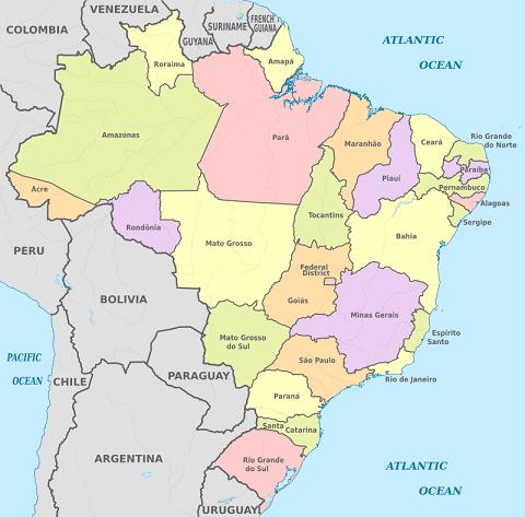 Carte Amerique Du Sud Pays Et Capitales Pdf.Liste Des Etats Du Bresil Avec Capitale Superficie Et Drapeau