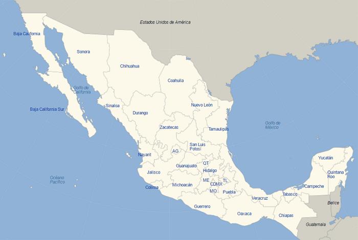 Estados De México: Info • Carte Etat Du Mexique • Voyages