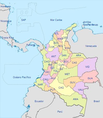 Lista de todos los departamentos de Colombia y sus capitales