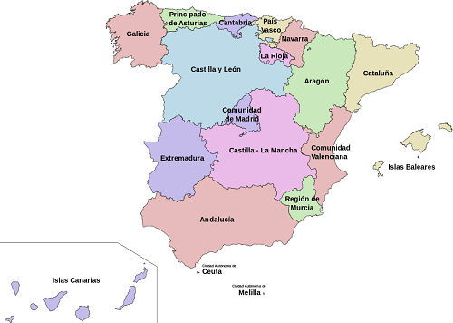 carte espagne communautes autonomes et capitales