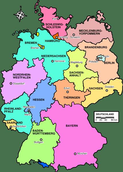 Carte Allemagne Lander.Liste Des Lander D Allemagne Liste Des Etats D Allemagne