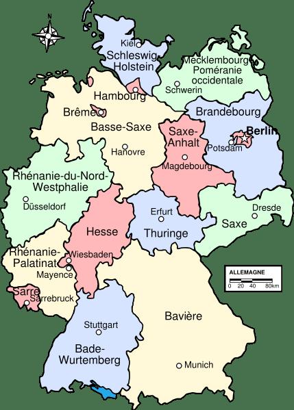 Carte Allemagne Code Postaux.Liste Des Lander D Allemagne Liste Des Etats D Allemagne